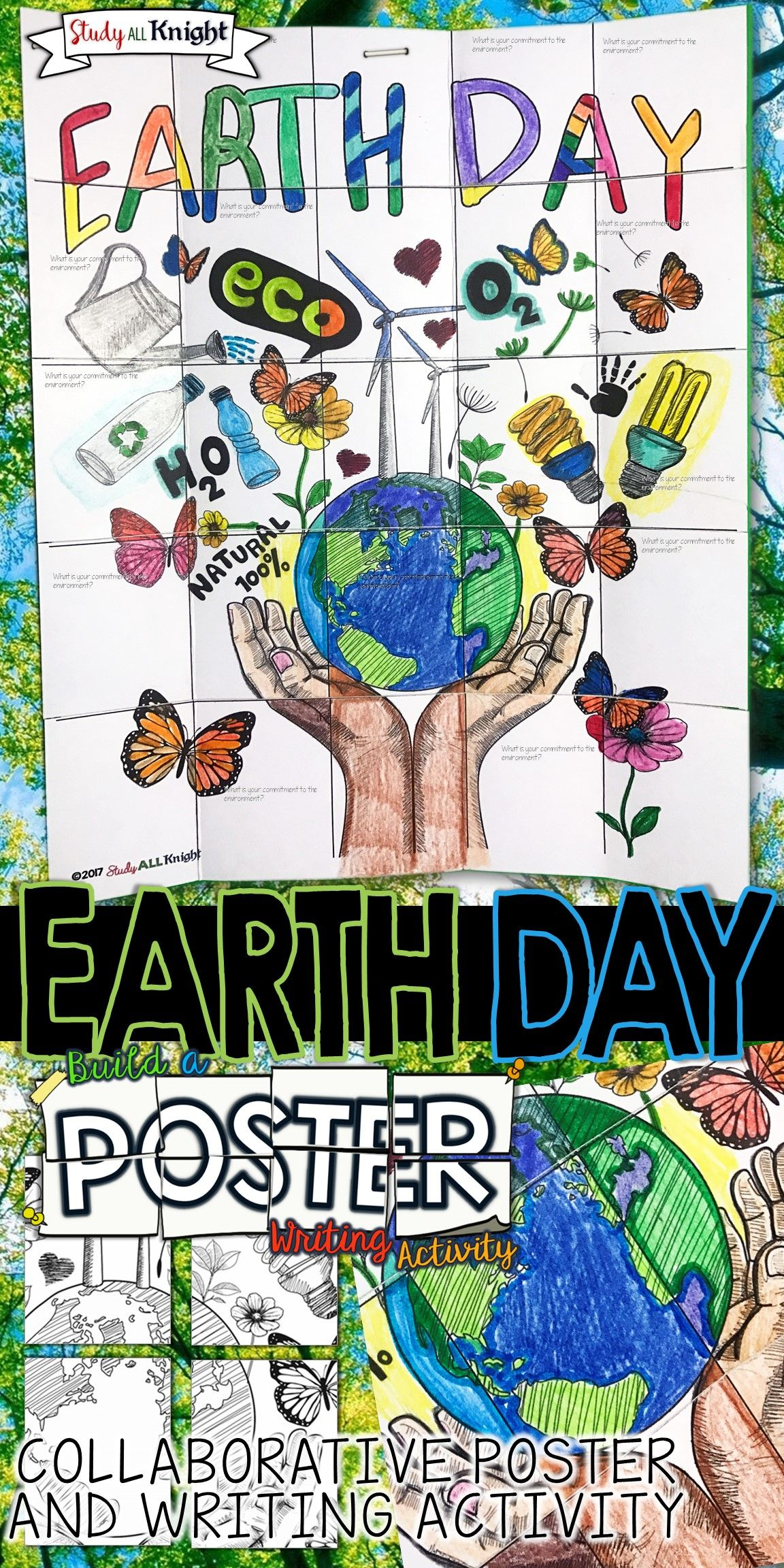 Earth Day Collaborative Poster Writing Activity Group