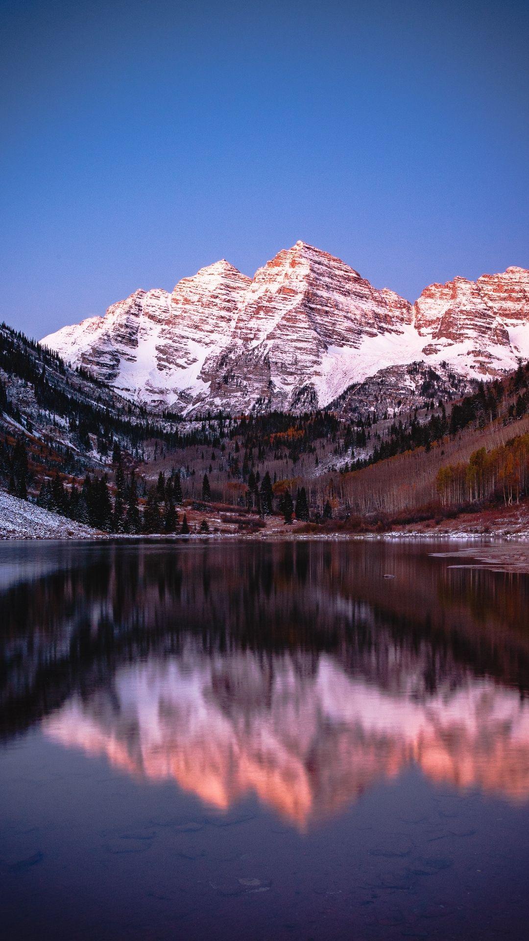 1080x1920 Wallpaper Mountain Lake Snow Reflection