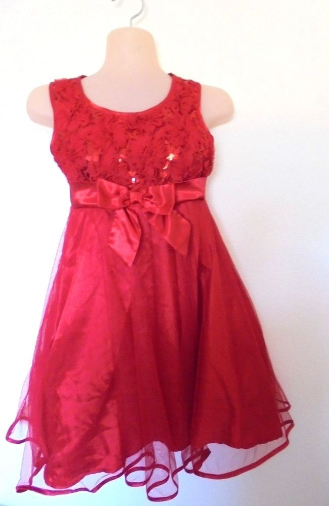 33c7de8c384c Holiday Editions - Rosettes/Sequins Tulle Skirt Holiday Party Dress Girls 10/12  #