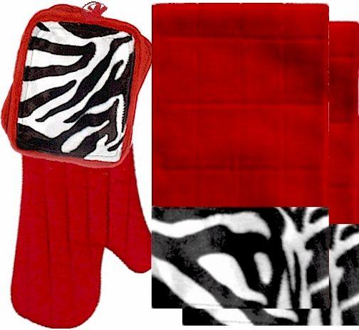 AnythingAnimals.com Animals Bordering Africa Animal Print Kitchen Linen Set  Red/Zebra $35
