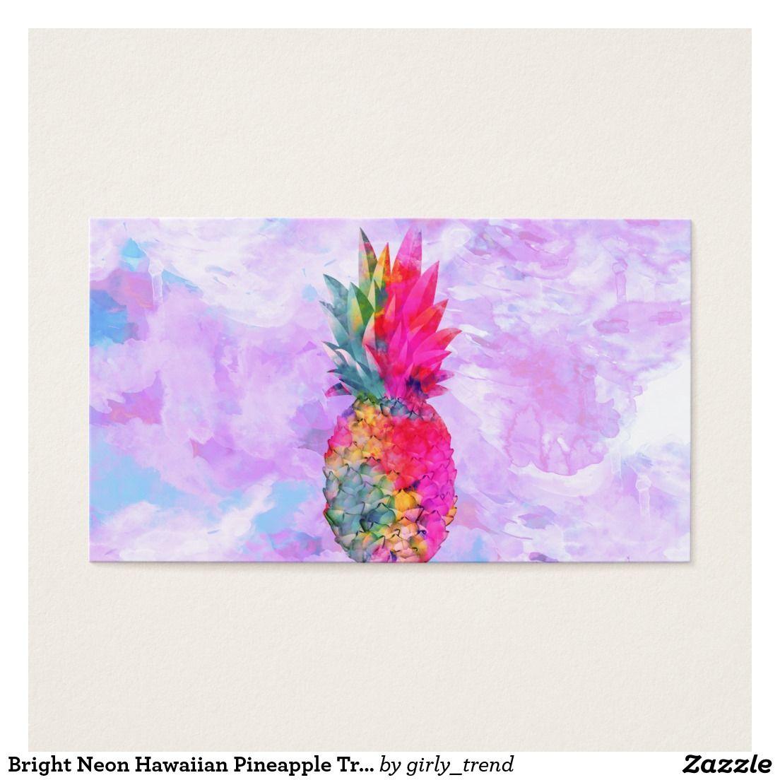 Bright Neon Hawaiian Pineapple Tropical Watercolor Business Card. a ...