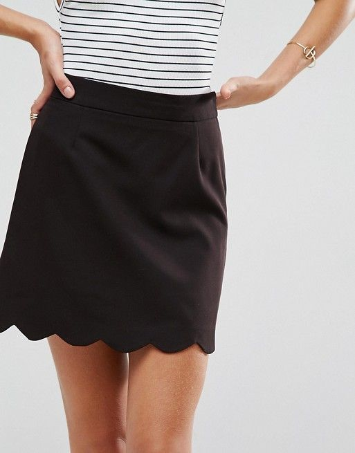 19e2c5c467 DESIGN tailored a-line mini skirt with scallop hem