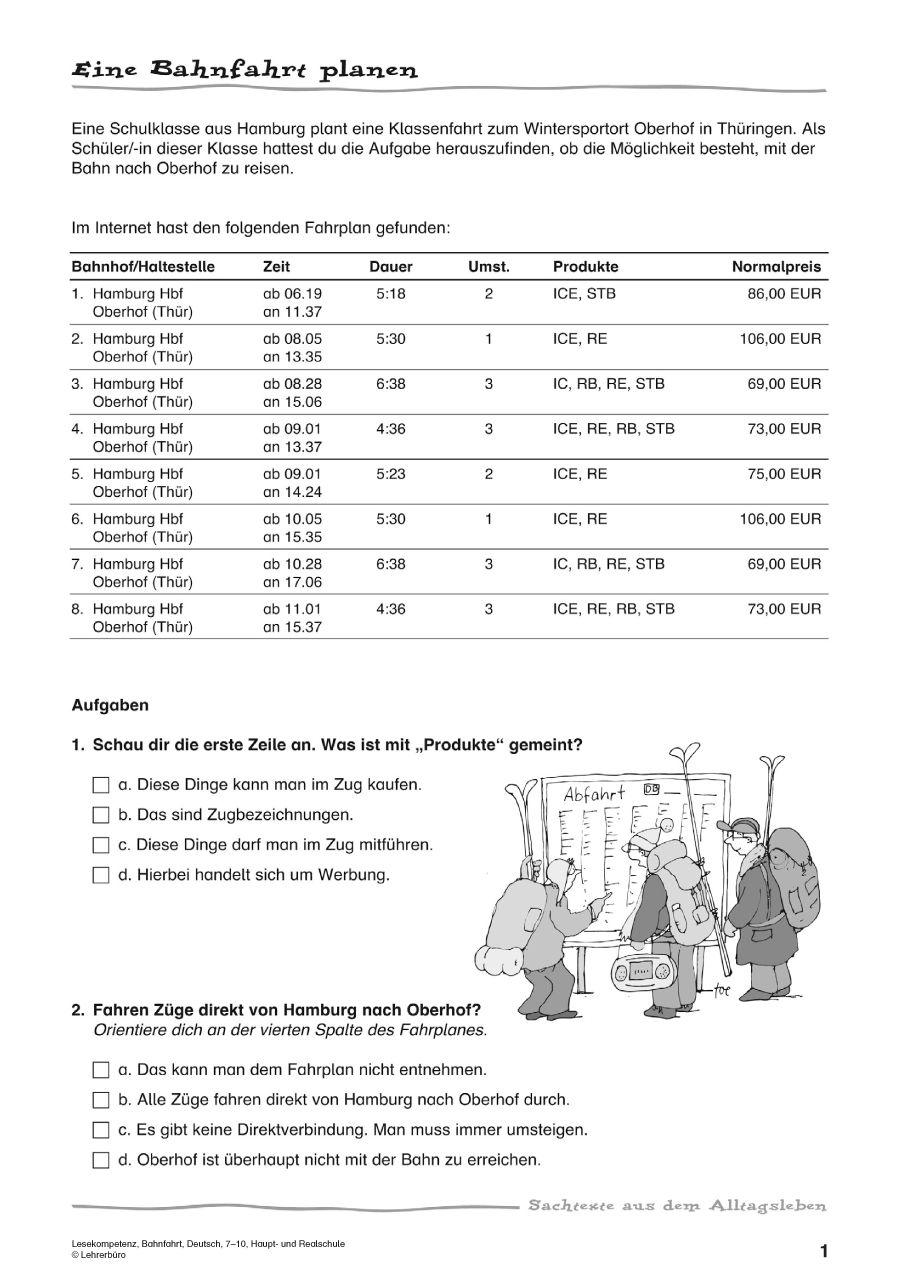 Lesekompetenz, Bahnfahrt, Deutsch Hauptstufe, 7. bis 9. Klasse ...