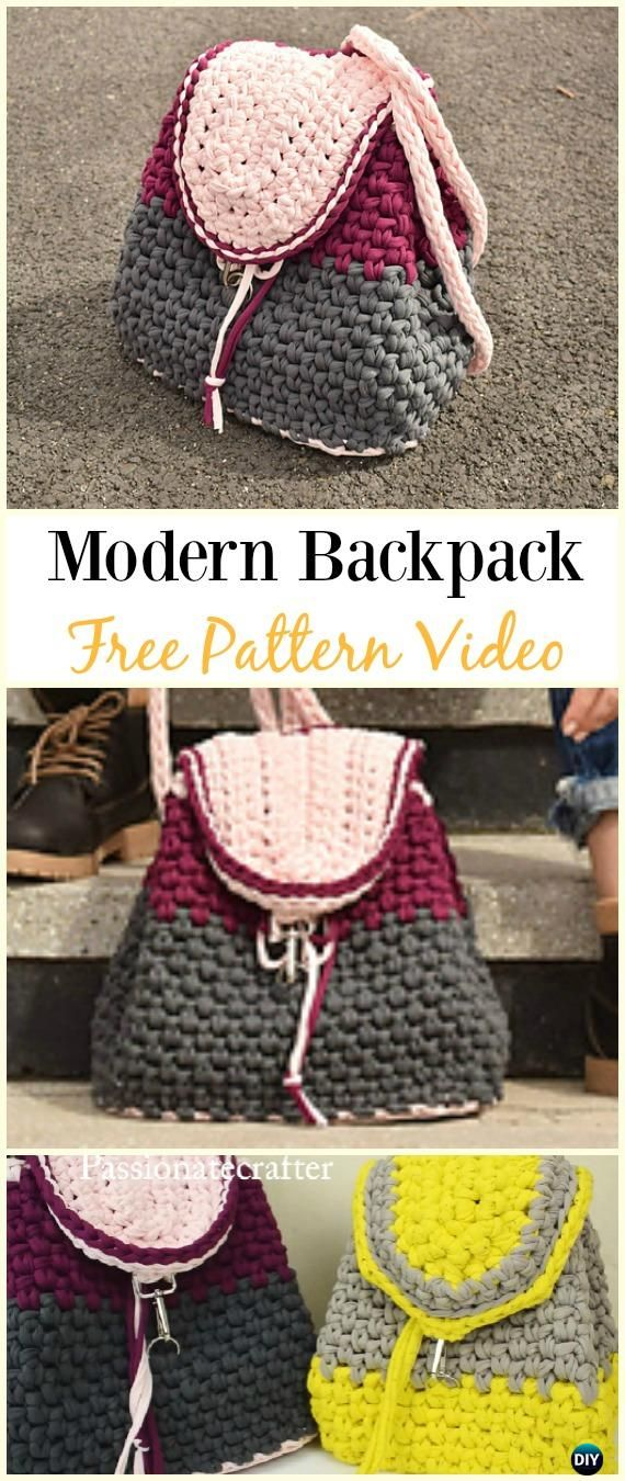 Crochet Modern Backpack Free Pattern Video -Crochet Backpack Free ...