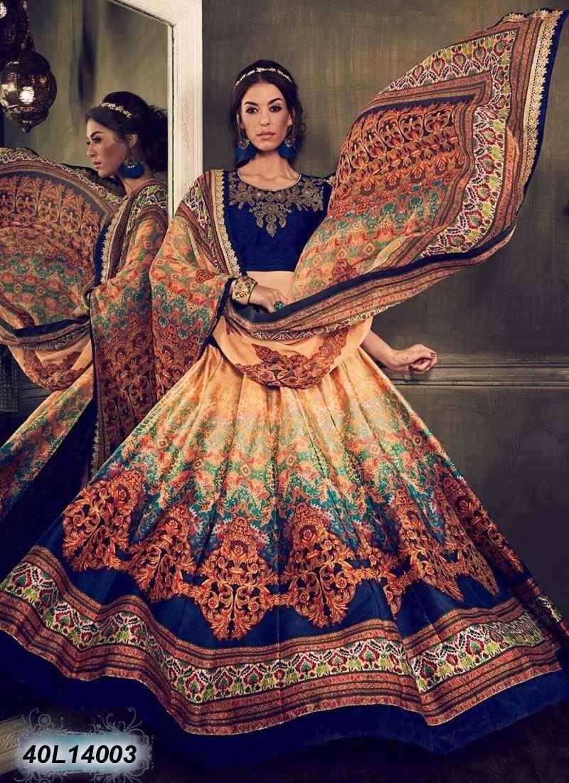 Buy Enticing Multi Colored Bhagalpuri Silk Semi Stitched Lehenga Choli Get 30 Off On Designer Designer Lehenga Choli Indian Designer Wear Lehenga Choli Online