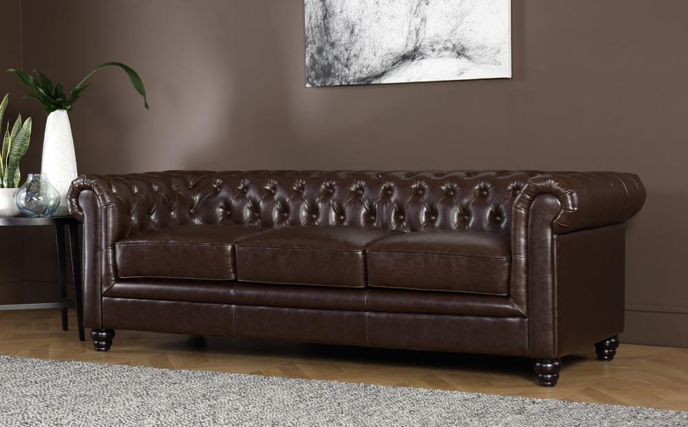 Hampton Antique Chestnut Leather 3 Seater Chesterfield