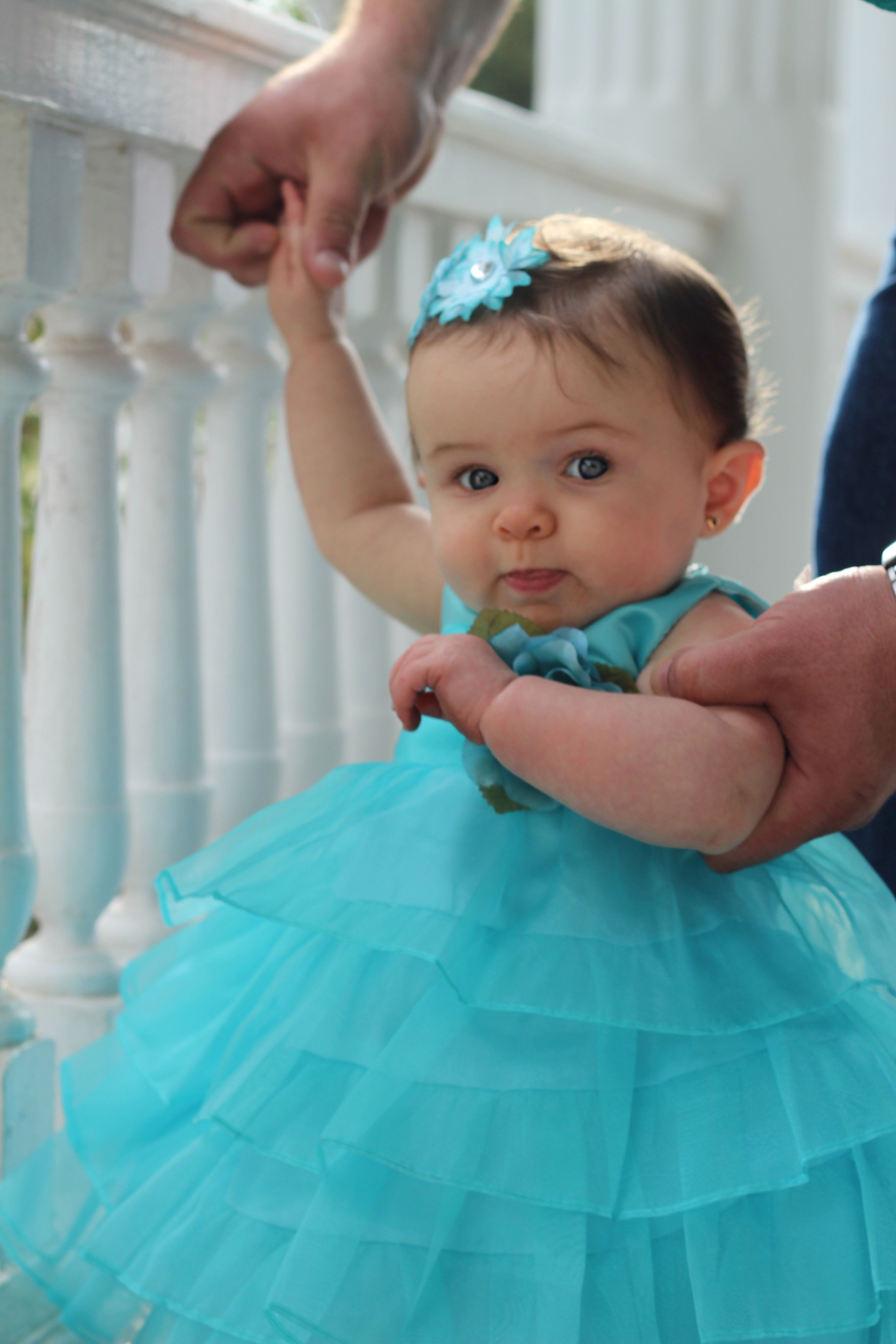 Turquoise Infant Dress with Layers and Layers of Skirt, Infant