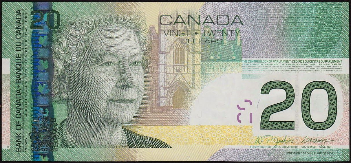 Canadian Banknotes 20 Dollar Bill 2004 Her Majesty Queen