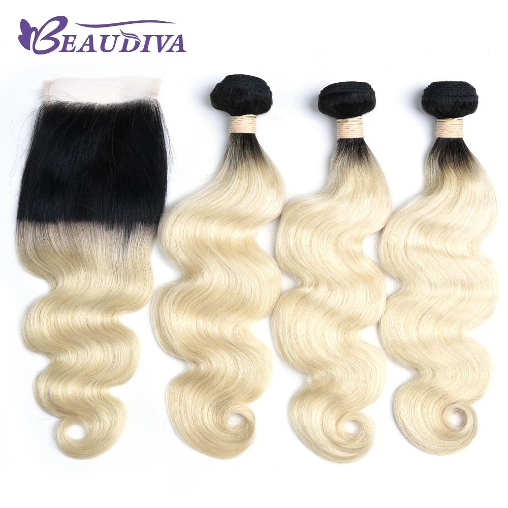 Beaudiva Pre Colored Remy Human Hair Weave 3 Bundles With 4x4 Lace