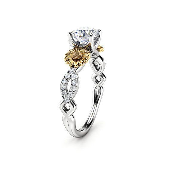 8ebdd39834aa0 Sunflower Engagement Ring, 14K White and Yellow Gold Moissanite ...