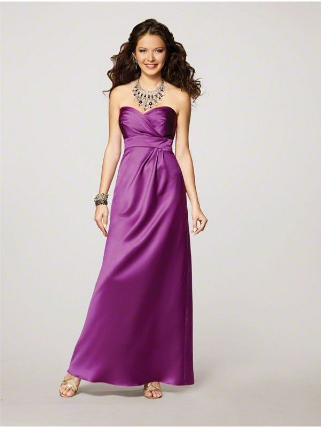 A-line Sweetheart Floor Length Purple Satin Wedding Party ...