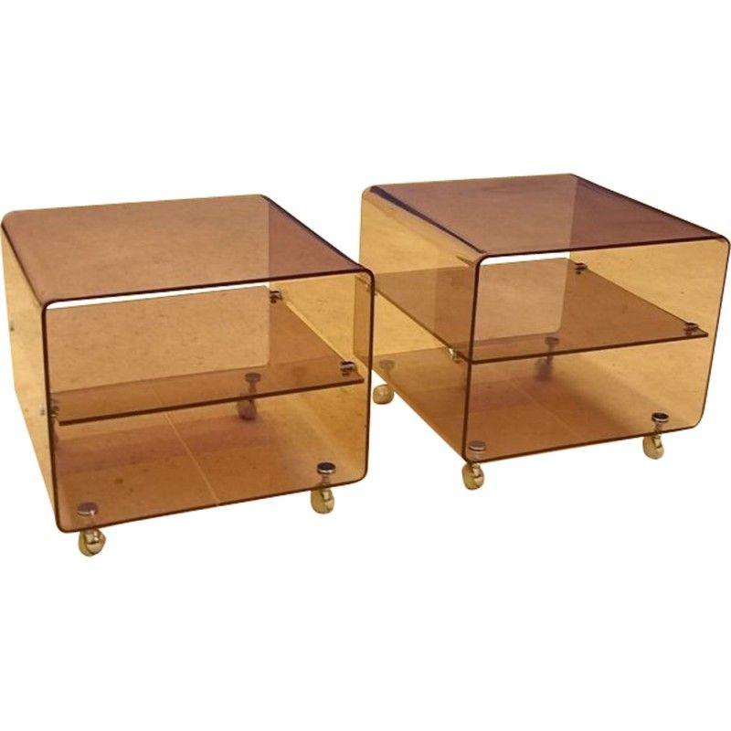 Paire De Chevets Roche Bobois En Plexiglas Michel Dumas 1970 Design Market Petit Meuble D Appoint Mobilier De Salon Petit Meuble