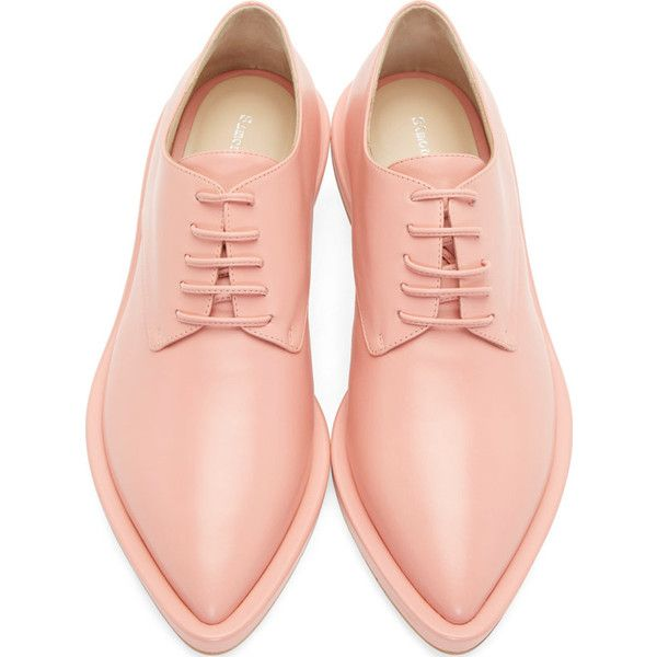 Simone Rocha Pink Leather Clear Heel Derbys (705 CAD) ❤ liked on Polyvore featuring shoes, oxfords, flats, pink oxfords, leather sole shoes, pink shoes, leather pointy toe flats and flat shoes
