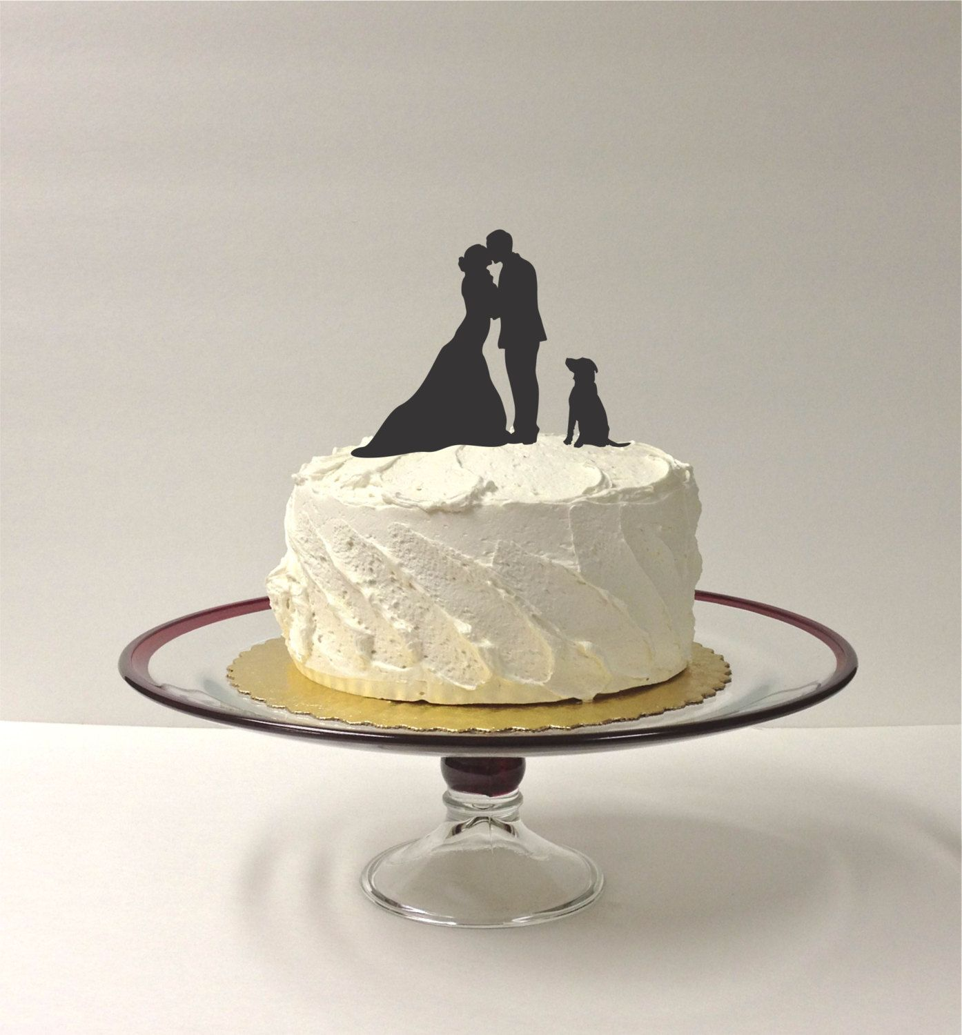Made in usa silhouette cake topper with pet dog different dogs