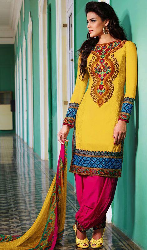 Splendorous Yellow Salwar Kameez Price: Usa Dollar $140, British UK Pound £82, Euro103, Canada CA$150 , Indian Rs7560.