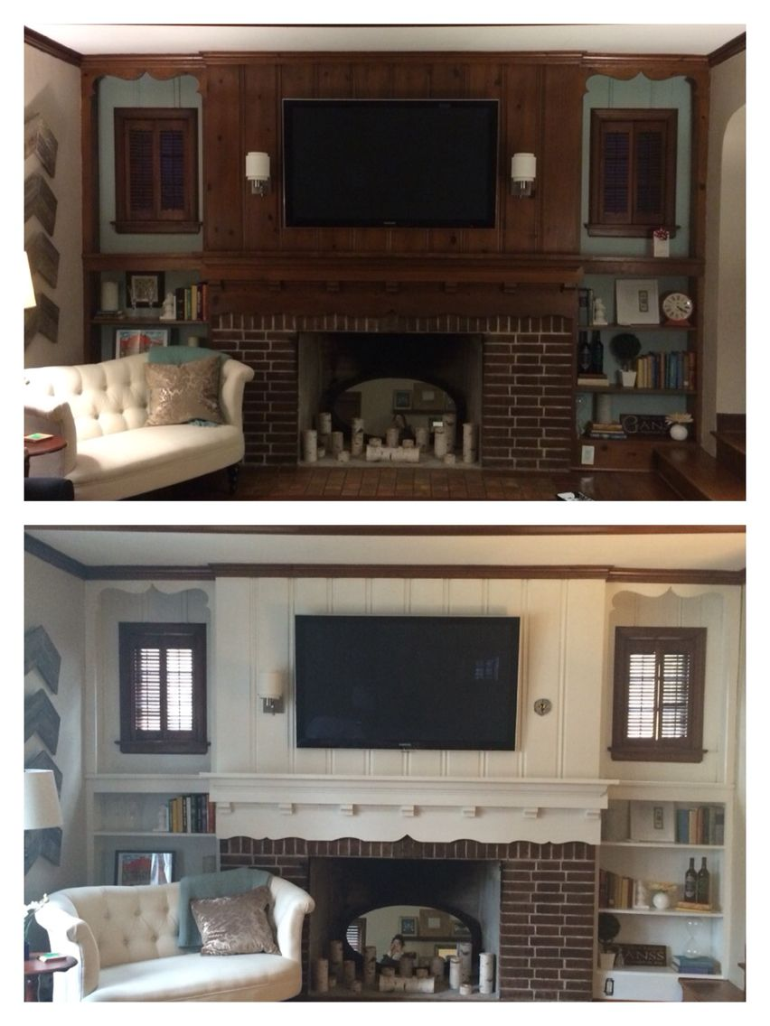 Before And After Painting Wood Paneling And Cabinets White Around The Fireplace Wood Paneling Makeover Paneling Makeover Cheap Interior Wall Paneling