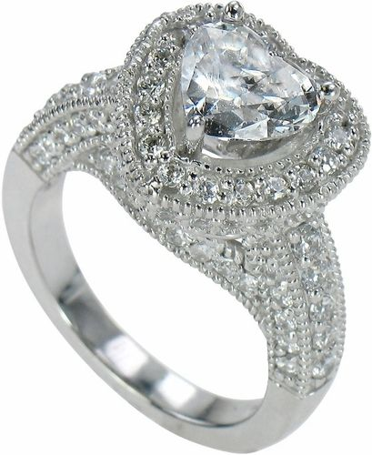 Halifax 2 Carat Heart Shape Cubic Zirconia Pave Encrusted Halo
