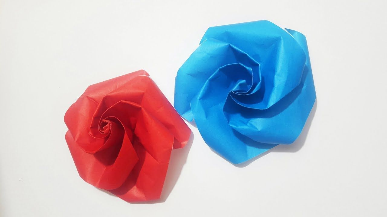 Easy Origami Rose Origami Flower Tutorial Origami Pinterest