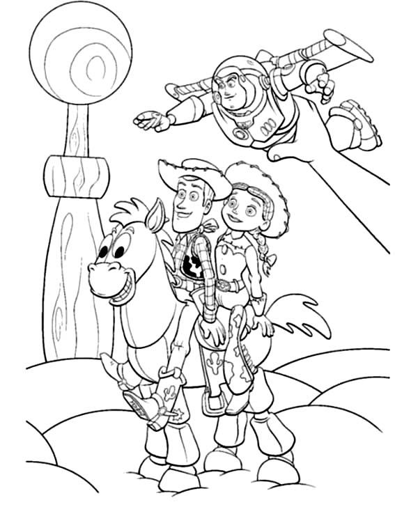 Woody Jessie Buzz And Bullseye Toy Story 2 Played By Andy Coloring Page