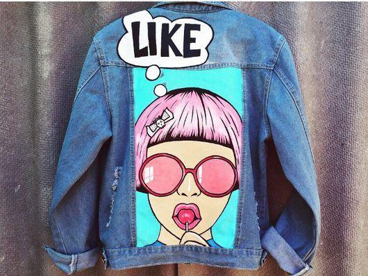 111bedc484261 Верхняя одежда ручной работы. Заказать Джинсовая куртка в стиле поп - арт.  Sokolick Handmade