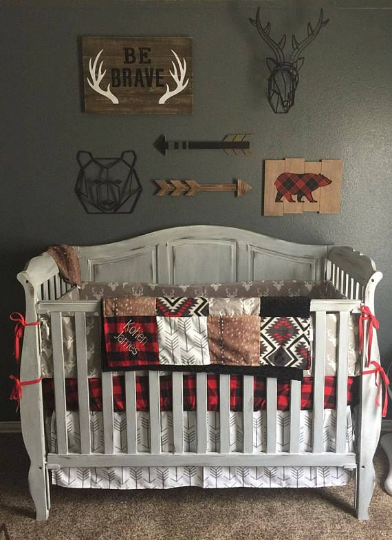 Baby Boy Crib Bedding- Gray Buck, Deer Skin Minky, Arrow, Aztec, Red Black Buffalo Check, and Black, Woodland Crib Bedding
