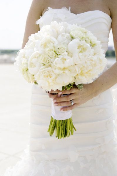 {White wedding bouquet :: peonies, roses and  tulips} Simple & gorgeous.  ~Photography by themccartneysblog.com, Floral Design by reshdesignflowers.com