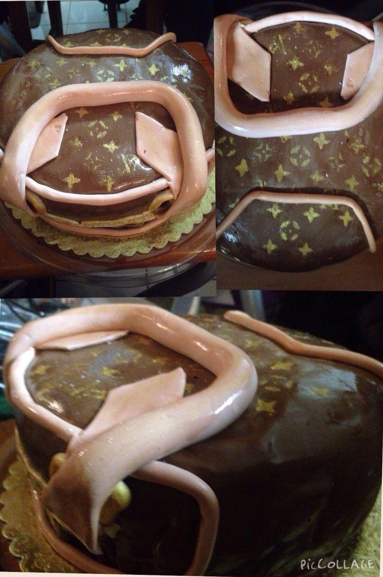 """""""Louis Vuitton"""" pastel de vainilla cubierto de fondant de bombón"""