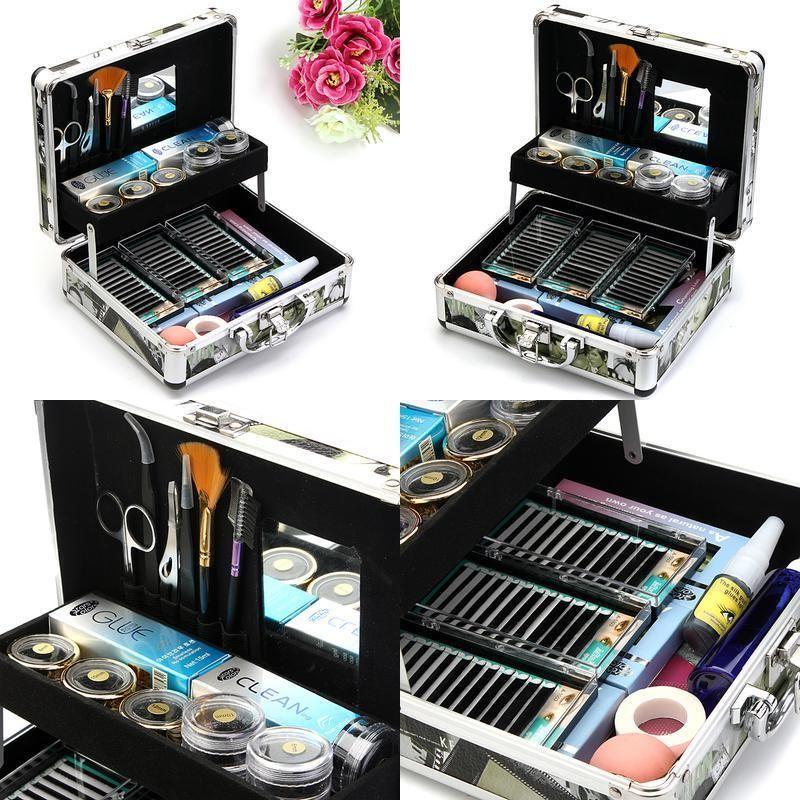 e67cafbce7f Professional False Eyelash Extension Glue Brush Kit Set Tool Box ...