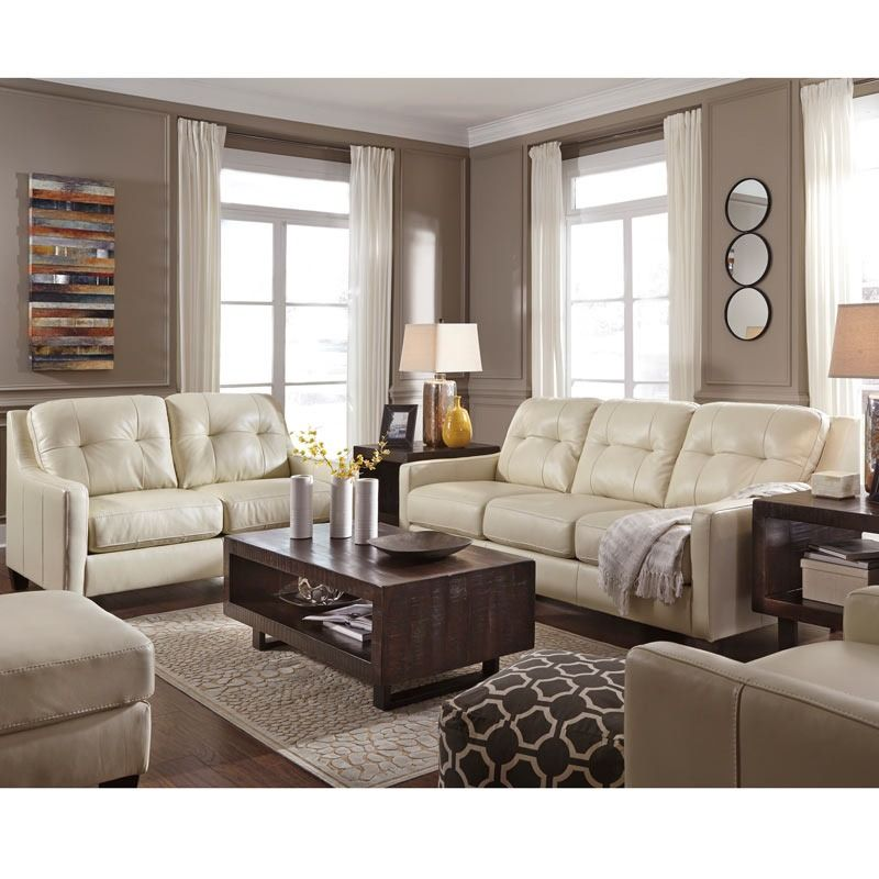 Ashley O Kean Cream Leather Sofa Furniture And Mattress Outlet