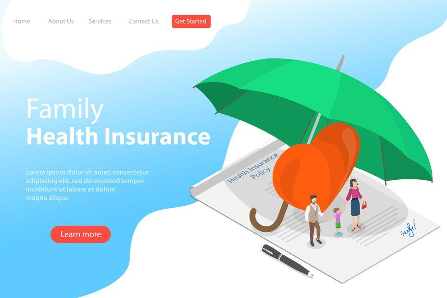 100 Website Hero Illustrations Health Insurance Policies Child