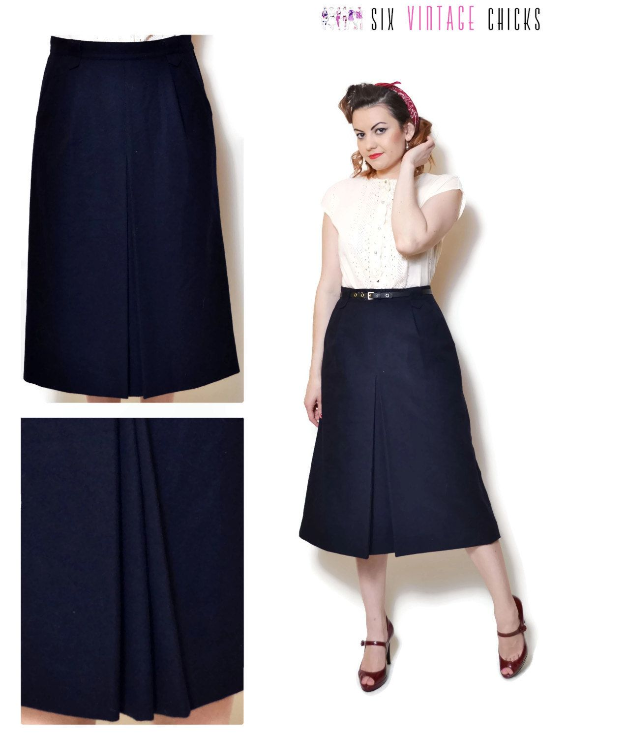e1cc95c120 wool skirt vintage high waisted midi circle skirt with pockets 80s clothing  office clothes dark blue boho gift for her 80s skirt Retro M/L by ...