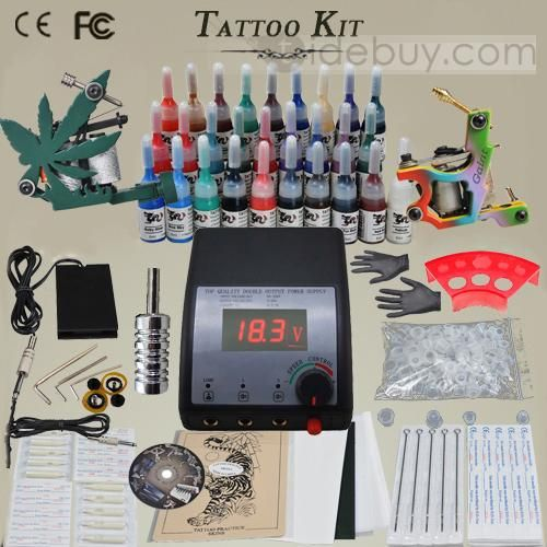 Complete Set Tattoo kit with 2 Different Style Tattoo Guns and LCD Power Supplies, Guns