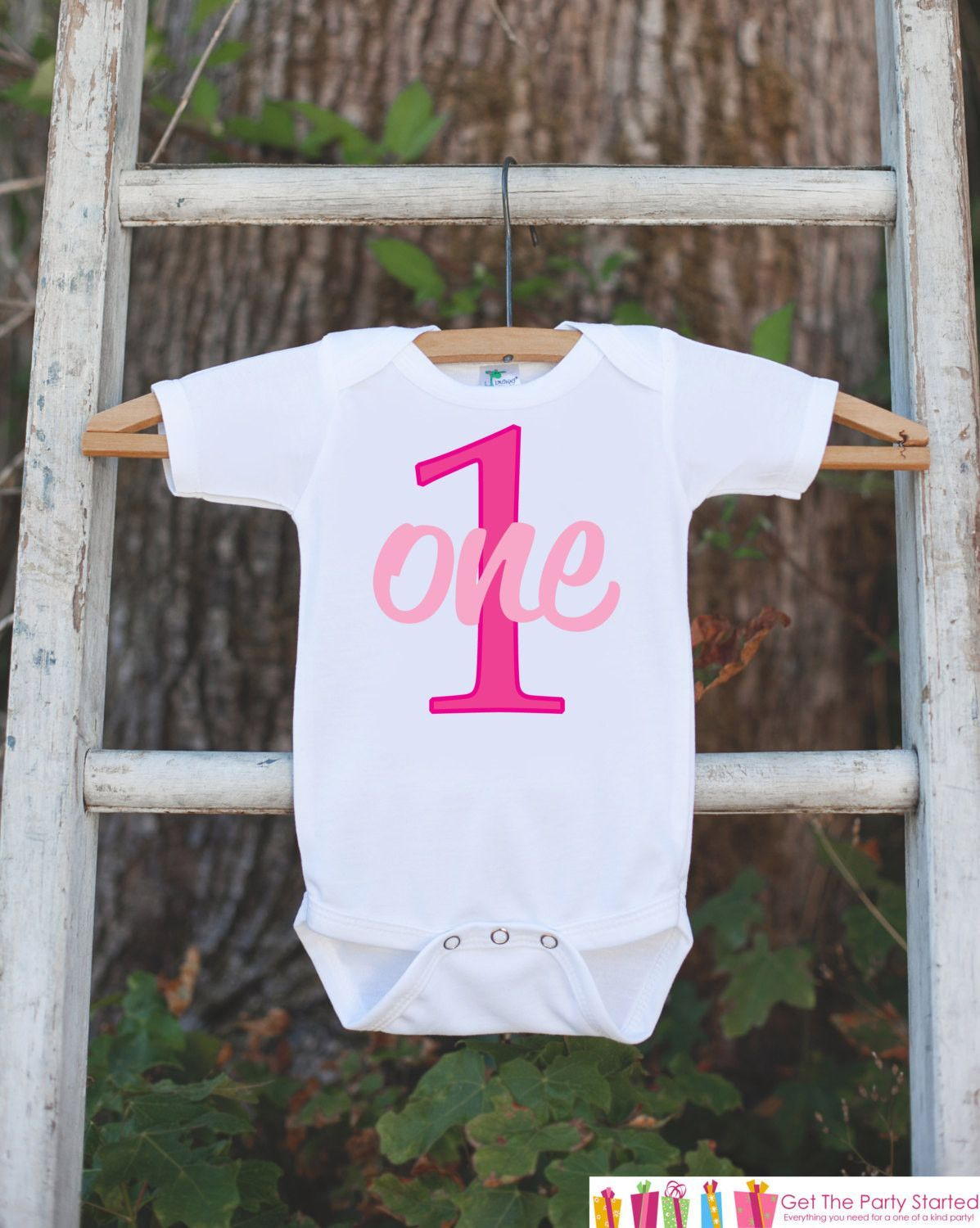 First Birthday Outfit for Baby Girls - One Onepiece For Girl's 1st Birthday Party - Girls Birthday Shirt - Hot Pink 1 First Birthday Creeper