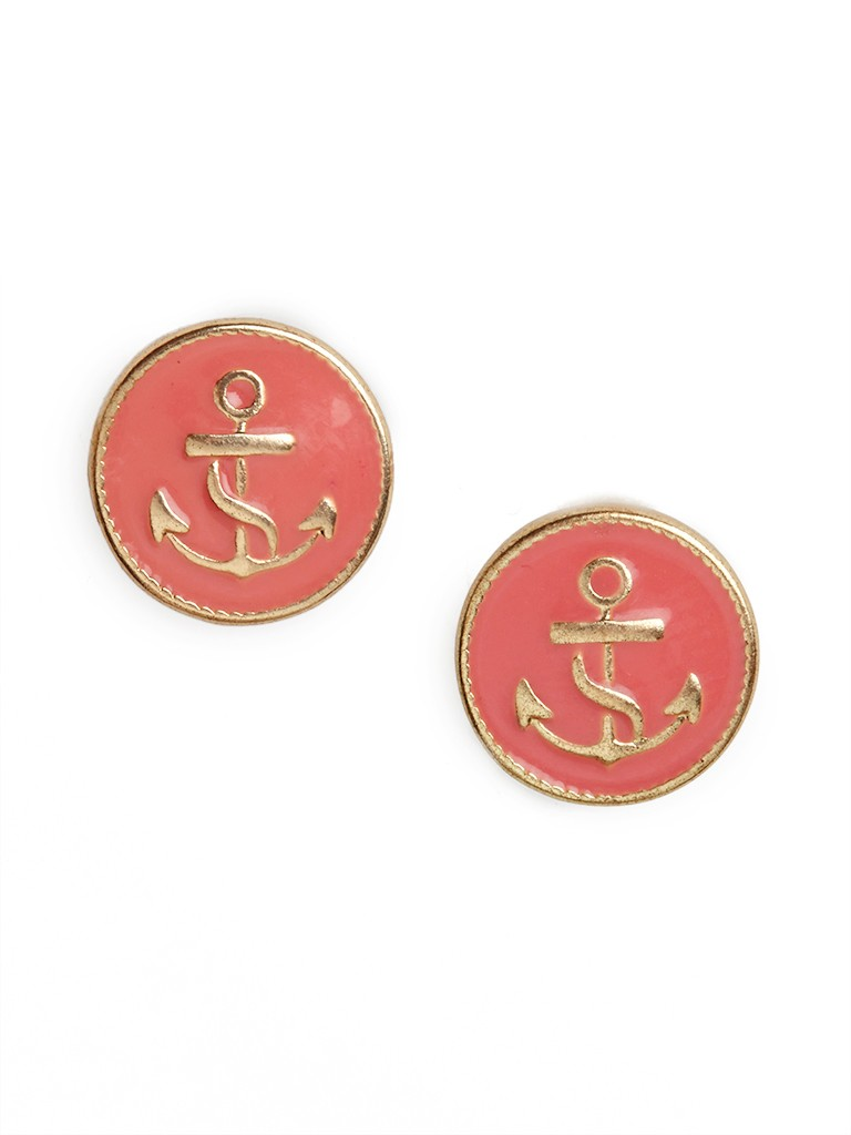 our coral anchor button studs