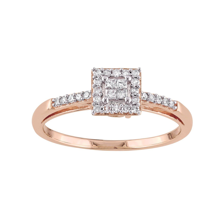 10k rose gold 15 carat tw diamond square halo