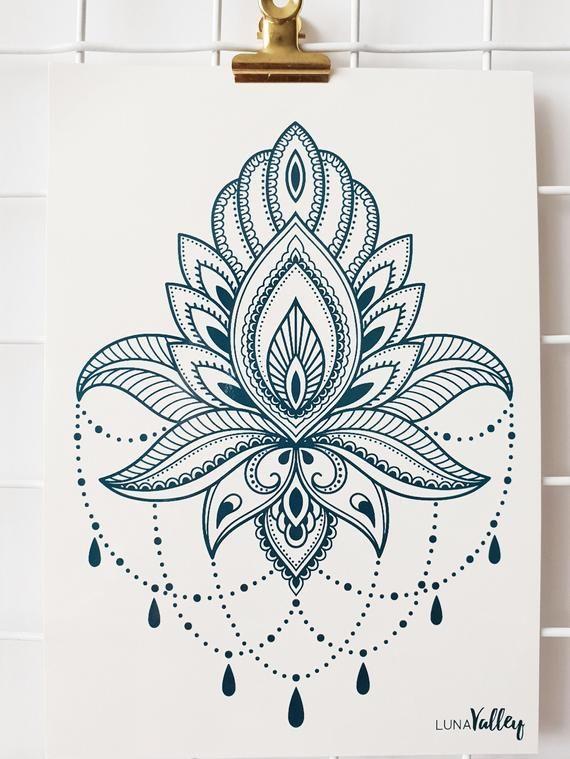 Lotus Tear Drop A5 Temporary Tattoo Chest/thigh/back/boho