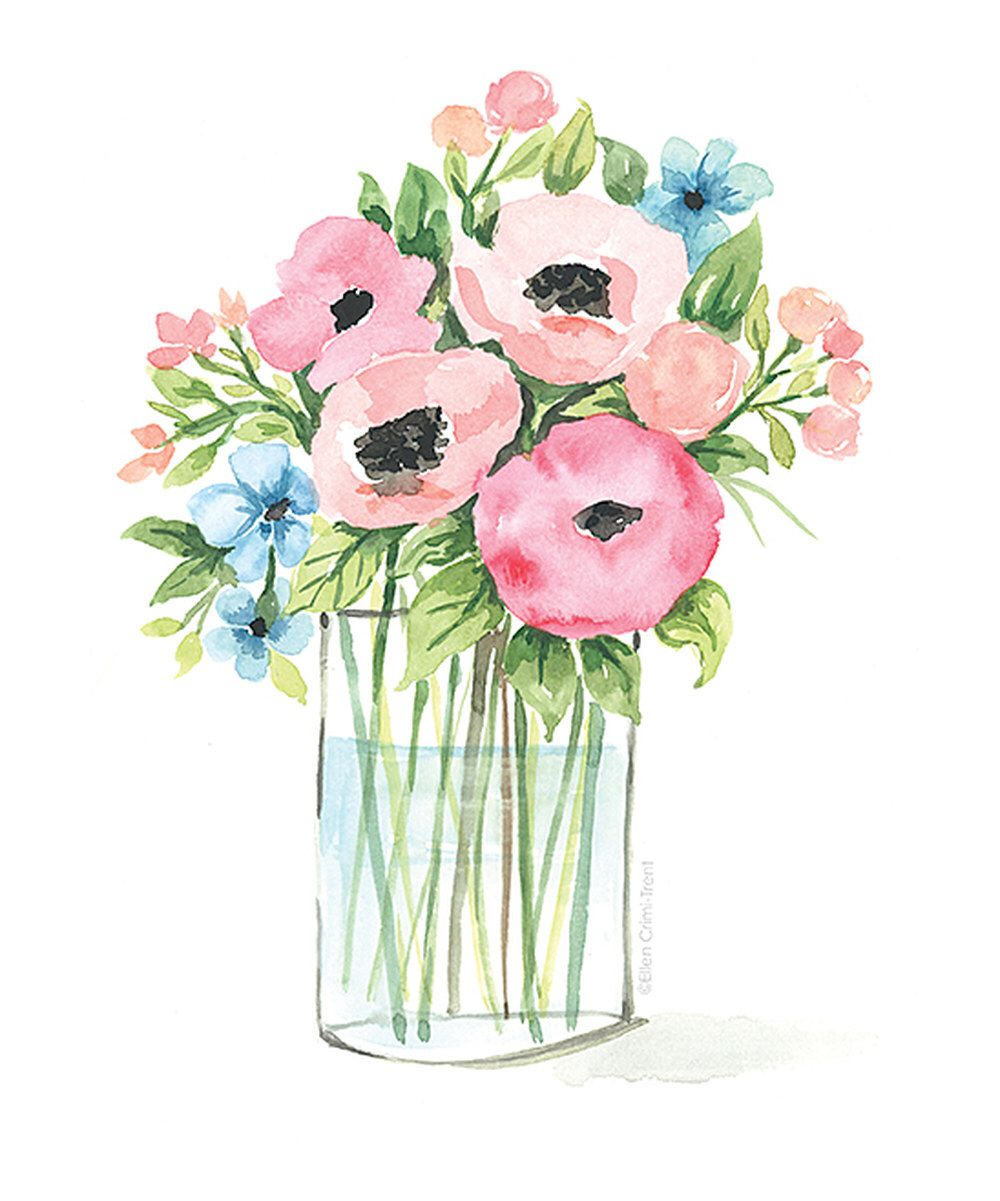 Ball Jar Flowers Watercolor Print Art Print Watercolor
