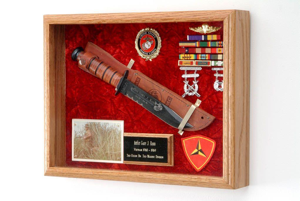 Knife Or Pistol Display Case 12x16 Includes Choice Of Military Emblem Crushed Velvet Color Knife Display Case Medal Display Case Display Case