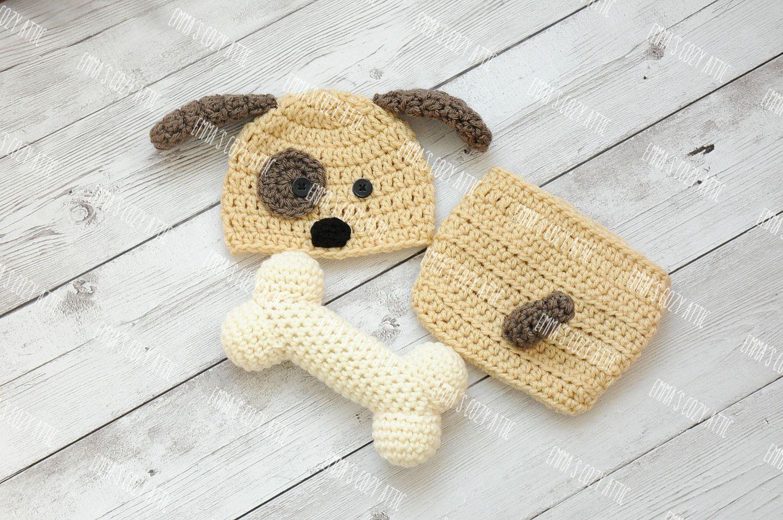 Cachorro recién nacido sombrero, bebé niño perrito, crochet el ...