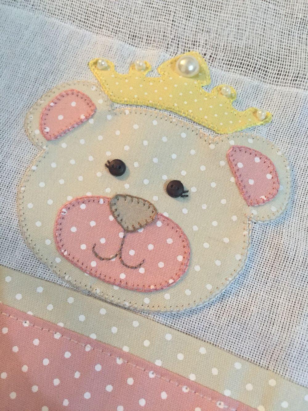 Baby Princess Bear Patchwork Toalhas Bordadas
