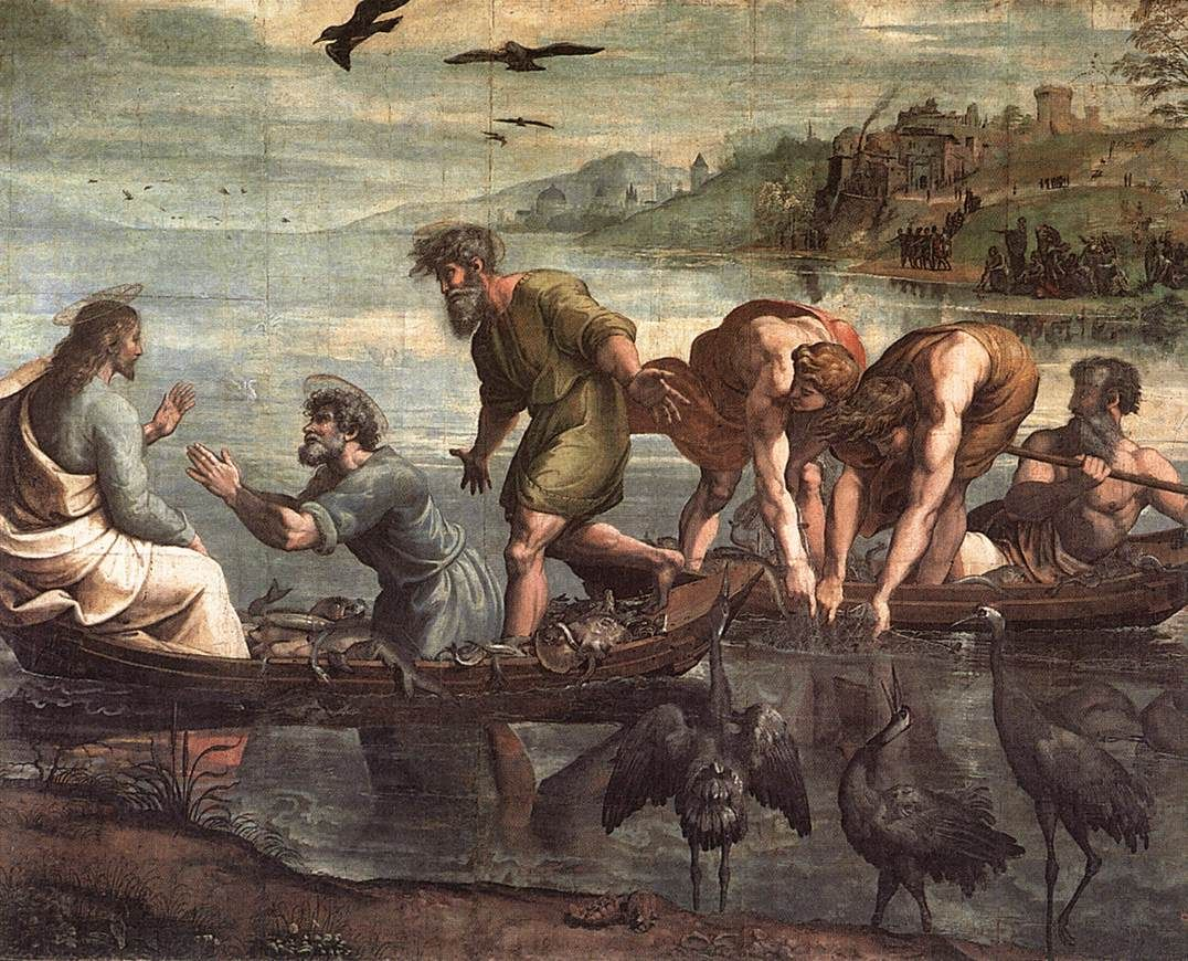 Raffaello Santi : The Miraculous Draft of Fishes (The Royal Collection) 1483 - 1520 ラファエロ・サンティ Victoria And Albert Museum, Canvas Art, Canvas Prints, Art Prints, Framed Prints, Raphael Paintings, Art Ninja, Sibylla Merian, Fresco
