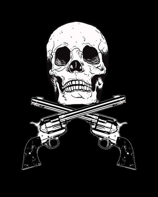 Drawings Easy Skull With Guns: Clip Art Of Skulls And Guns
