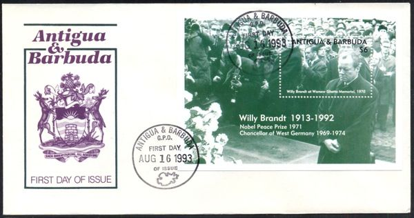 Willy Brandt at Warsaw Ghetto Monument 1970. S/S on FDC from Antigua & Barbuda
