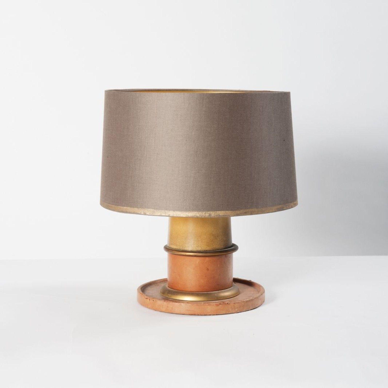 Jacques Adnet Attribue A Lampe De Table Bois Cuir Laiton Et