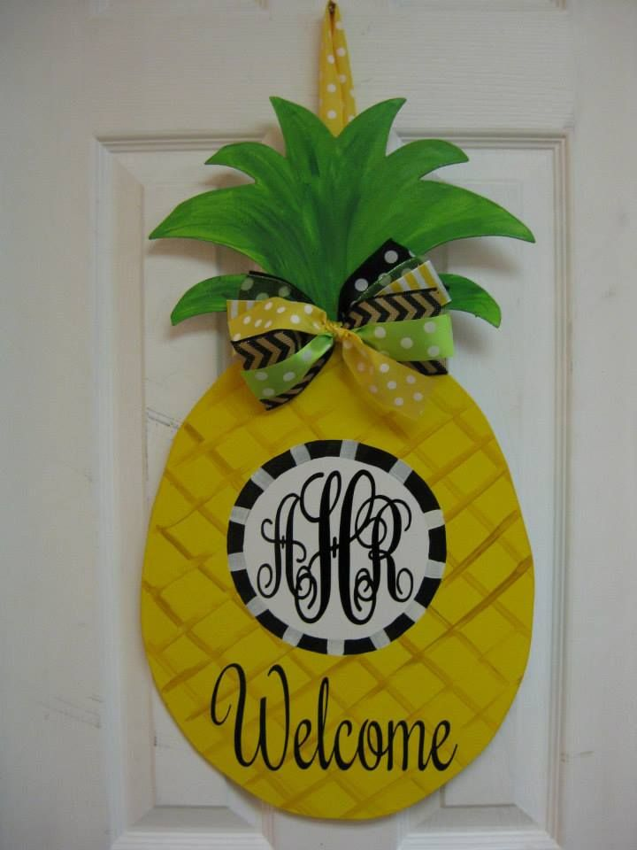 Personalized Pineapple Door Hanger. Made by Sticks and More in Snow Hill, NC https://www.facebook.com/sticksandmore