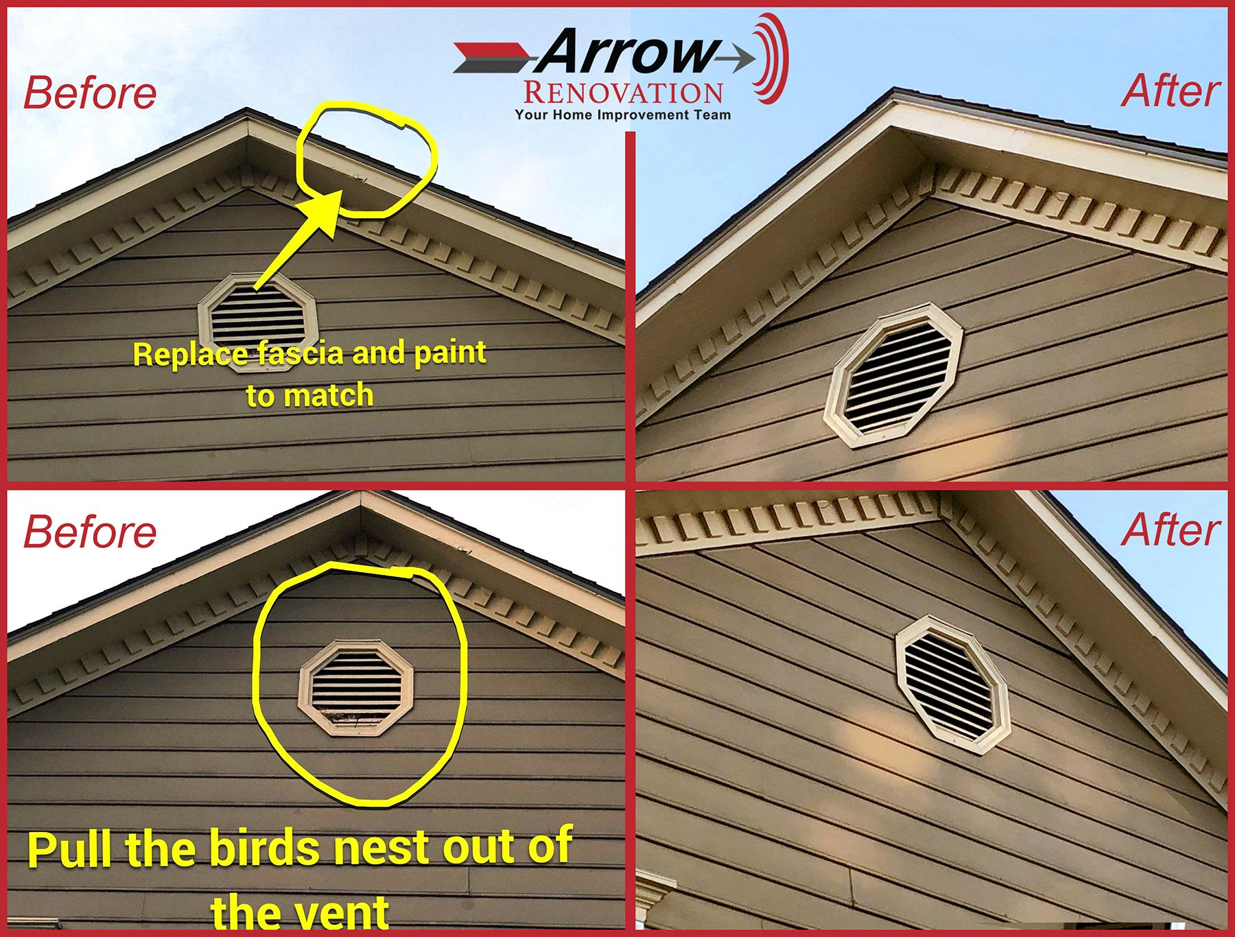 Can Arrow Renovation Do Almost Anything The Answer Is Yes We Can Even Pull A Birds Nest Out Of Your Attic Vent Lp Smart Siding Siding Soffit Seamless Gutters