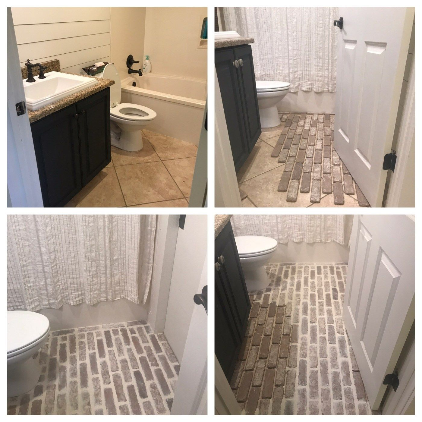 Diy Brick Floors Over Tile Brick Flooring Brick Bathroom Floor