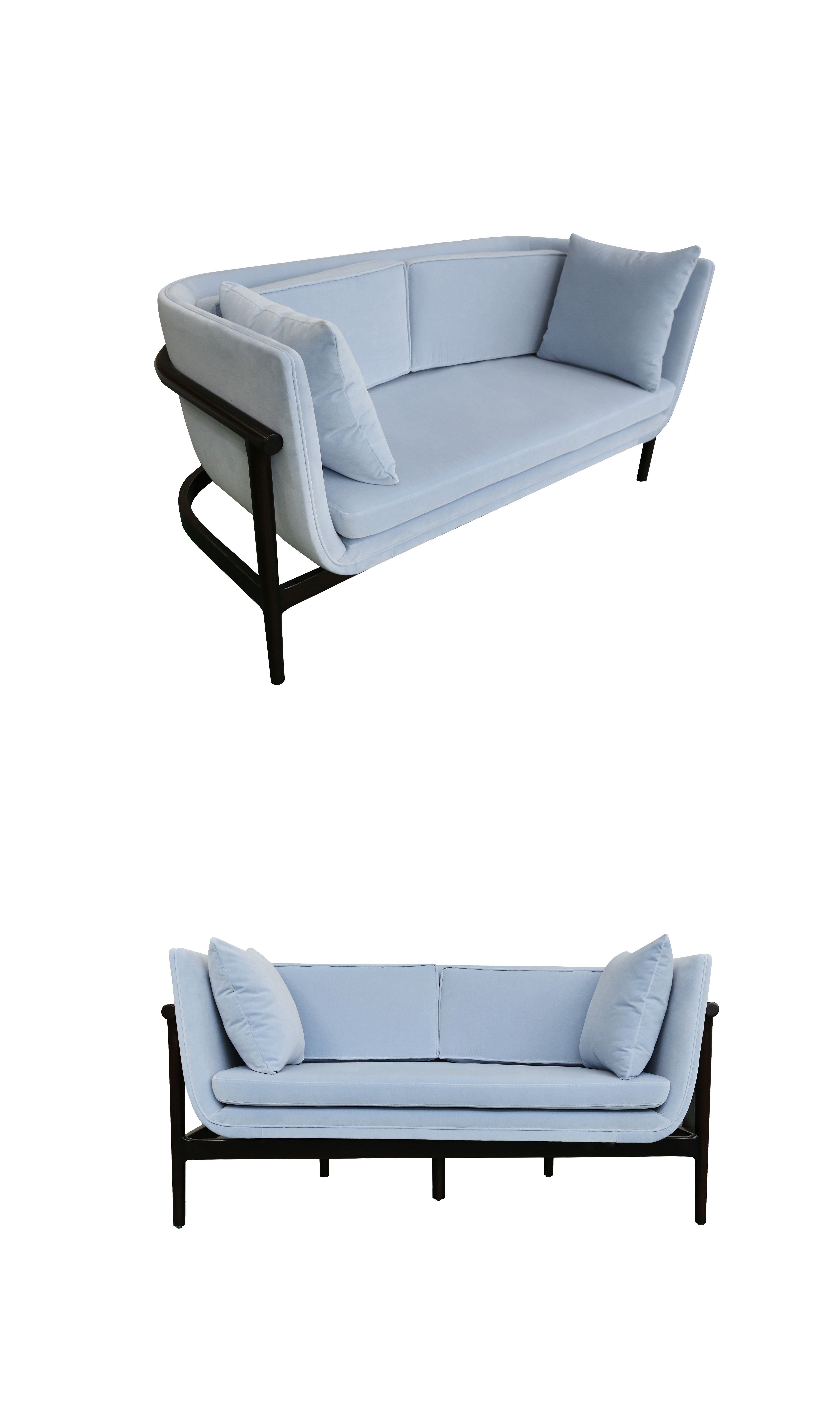 Modern Style Two Person Sofa Blue W1620 D750 H820 North American