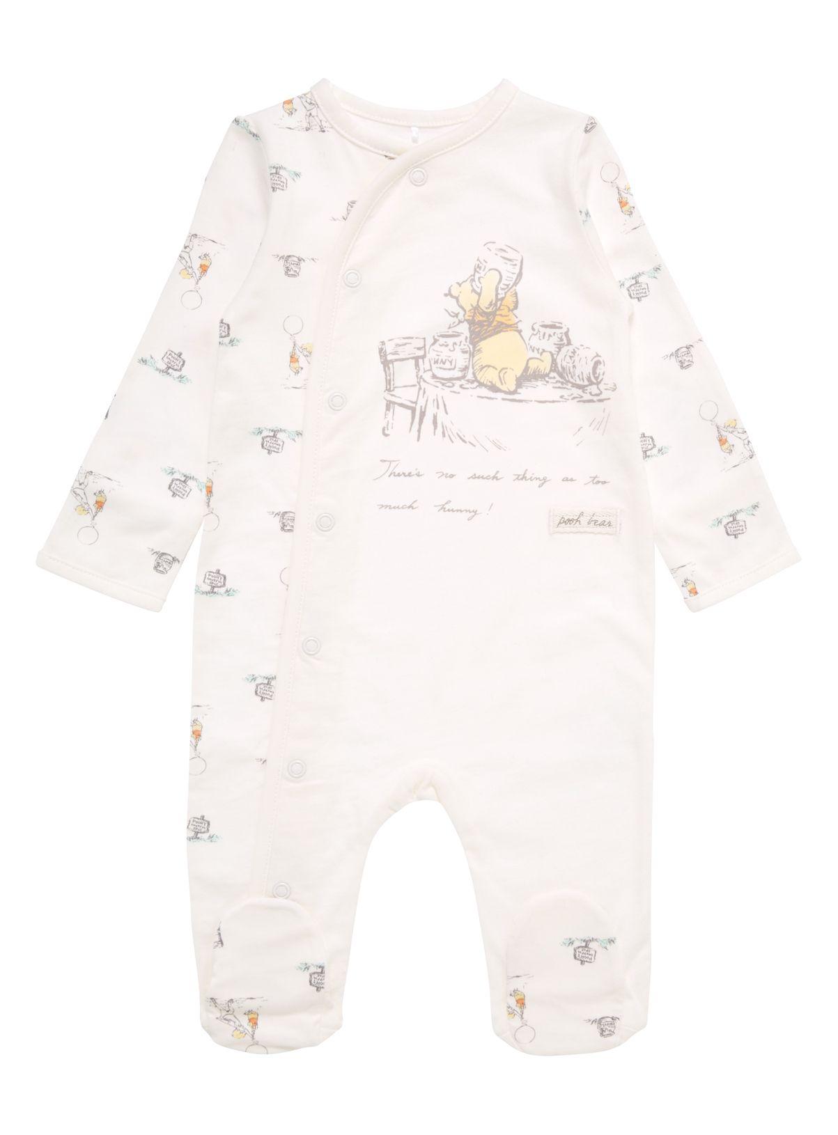 Baby Unisex Cream Winnie The Pooh Sleepsuit (0-24 months ...