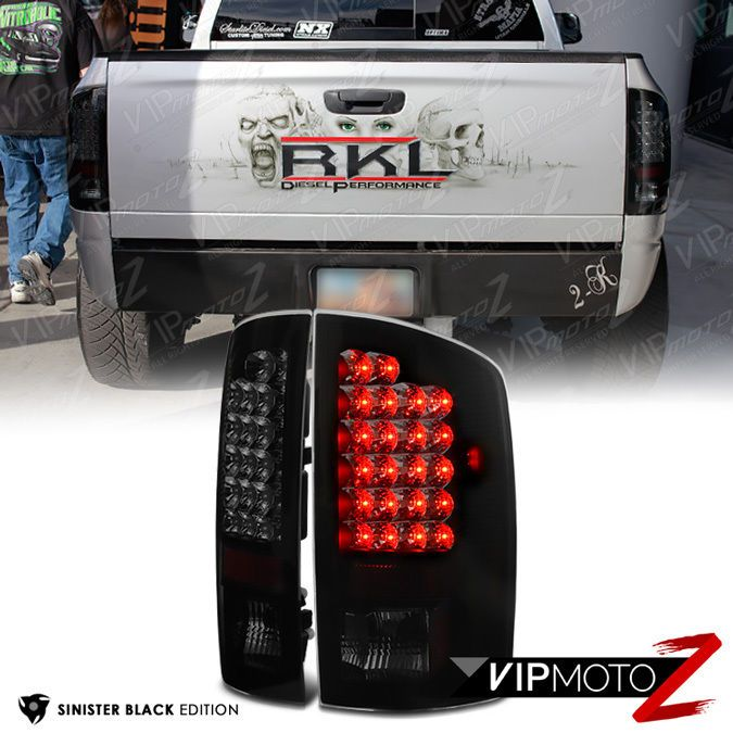 For 02 06 Dodge Ram 1500 2500 3500 Sinister Black Smoke Led Brake Tail Light Dodge Ram Dodge Ram 1500 Dodge
